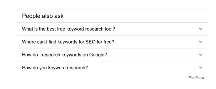 how to keyword research for free using google people also ask
